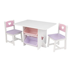 KidKraft - Heart Table & Chair Set by Kidkraft - Our Heart Table and 2 Chair Set is a perfect place for creative kids to sit down and let their imaginations run wild. This furniture set is fun and would look great in any kid's room.