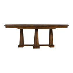 Stanley - Archipelago Calypso Pedestal Table, Fathom - The Archipelago Calypso Pedestal Table features walnut burl inlay imparts that add rich complexity to the arc-motif that is itself repeating. Standing on a cross-shaped base with the help of four sturdy fluted columns, it boasts of an elegant design without being formal or ornate. The quality and the appearance of wood make it the center of attention and this is where its charm lies.