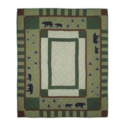 Patch Magic - Bear Trail Throw - 50 in. W x 60 in. L. 100% Cotton. Handmade, hand quilted. Machine washable. Line or flat dry only