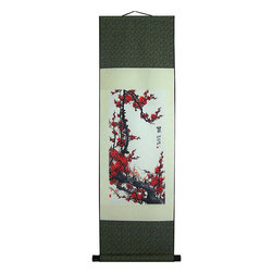 Oriental-Decor - Surprising Sakura Chinese Print Scroll - This scroll is ready to hang on your wall in your home or office. The soothing tranquility of the sakura blossoms will be a welcome addition to your decor.