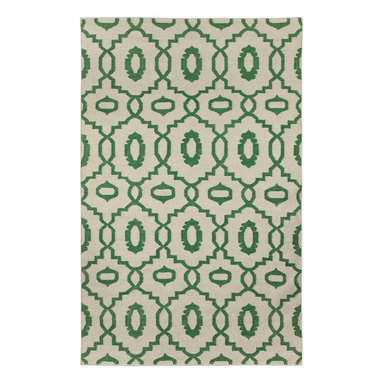 """Moor rug in Emerald - """"I must've lived many past lives in the middle east as it's one of the most inspiring places on earth to me.  The curves and intersections of pattern are dizzying and romantic.  Every season needs a lattice pattern, this is ours for Spring."""" - Genevieve Gorder"""