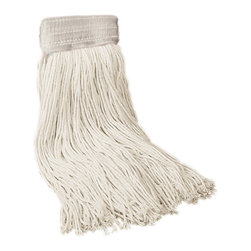 """UNISAN - 24 Oz Mop Head-5"""" HB Rayon Saddleback Head - Four-ply, cut-end yarn. Absorbent natural cotton fiber for general mopping. Rayon has immediate absorbency and wet release properties ideal for finishing. Cotton/synthetic blend absorbs 5.5 times its weight in water. Standard heads use clamp style mop handles; saddleback heads use clamp or gripper style handles; lie flat heads use lie flat screw-in handles (all sold separately). 12 mop heads per case. Premium Saddleback Head. Rayon 24-oz. full-weight premium fiber. 5"""" vinyl mesh."""