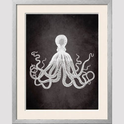Octopus - The classic vintage octopus illustration takes a twist in rich gray background.