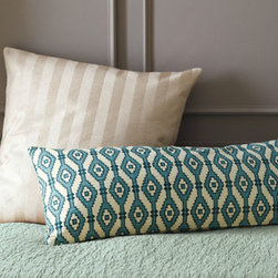 Quilted Cotton Pillow Cover, Abalone Teal - I love the size of this pillow: 14 inches high by 36 inches long. It would look great across any size bed or use two for a king. The pattern would pop on a white quilt, or you could pair it with a stripe.