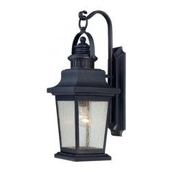 Joshua Marshal - One Light Slate Clear Seeded Glass Wall Lantern - One Light Slate Clear Seeded Glass Wall Lantern