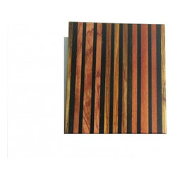 """Exotic Chopping Blocks - 12"""" x 12"""" Cutting Board - This beautiful board is an artistic statement, adding style and elegance to any room it sits in. The woods used in this board are Canary, Macassor Ebony, Bloodwood, Chechen, Wenge, Ebony, and Bubinga.  These woods come from different parts of the work including South America, Africa, and Asia. All the woods are their natural colors. There has been no paint or stain added."""