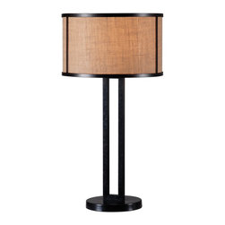 Kenroy - Kenroy KR-32312BRZ Keen Table Lamp - Angular and authentic, the elegant manner and beauty of the Mission style articulate a classic retro design. It's parallel poles and metal framed shade provide a sleek and sturdy design. In a Bronze finish the Natural Burlap shade this lamp provides a casual glow to any space.
