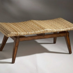 Designer's Edge Bench with Woven Seagrass Seat - Designer's Edge Bench has a sturdy frame constructed from selected solid woods and wood products, and a foam seat cushion covered with woven seagrass.