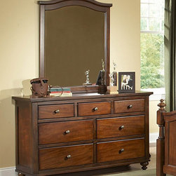 Homelegance - Homelegance Aris Dresser w/ Mirror in Brown Cherry - Classic in design and bold in style  the youth version of our popular Aris Collection adds warmth and character to your child's bedroom. Bun feet serve to support the simple yet elegantly designed case pieces  while the warm brown cherry finish on select hardwoods and veneers completes the overall look. Student desk with hutch and coordinating chair are also available.