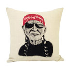 reStyled by Valerie - Willie Nelson Decorative Throw Pillow - Now you can cuddle up with the red-headed stranger anytime. The bandana-wearing legend rocks shades and his signature braids in this original illustration by Samantha Kulchar. Hand-screen printed on a linen blend throw pillow that's all natural — just like Willie.