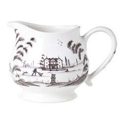 Country Estate Creamer - A simple shape and a detailed pastoral scene combine in the Country Estate Creamer, a tea set essential which, in chic neutral grey and white, can be used to replace a cracked heirloom piece or just as easily turned into a dispenser for warm syrup or clarified butter on the dining table. Ample ten-ounce capacity means you can relax as elegantly as the guests you entertain.