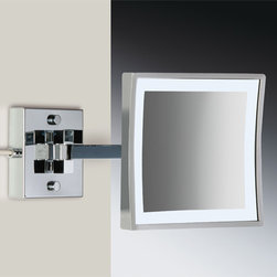 Windisch - Square Wall Mounted LED Brass 3x Magnifying Mirror - One face magnifying mirror with direct connection (hardwired).