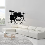 None - Rock Drums Musical Instrument Black Vinyl Wall Decal - Bring style to your home or business with this vinyl art featuring a rock drums pattern design. A great decorative innovations of recent years, vinyl wall decals are easy to apply and an inexpensive way to decorate your favorite space.