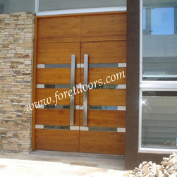 Modern front entry doors / contemporary front entry doors - Solid wood modern entry door with stainless steel plaques, glass and stainless steel flat pulls