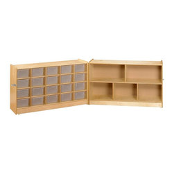 A and E Wood Design - A & E Mobile Fold and Lock 20 Cubbie Storage with Bookcase - 500422C - Shop for Bookcases from Hayneedle.com! When it comes to kids one size does not fit all and with the A and E Designs Mobile Fold and Lock 20 Cubbie Storage with Bookcase you can accommodate all your kids' supplies (and the occasional surprise) in the unique configurations you both need. Ideal for classroom and playroom use this clever hinged organizer does double-duty as a children's bookcase and mobile cubbie storage unit. It'll exponentially increase your arrangement options. Unfold it to double your storage space or fold it together to open more floor space. It even locks when closed to keep curious hands out. Solid birch plywood with a natural finish 20 cubbie shelves and five bookshelves give this bookcase a simple sweetness that won't dominate the rest of your decor. And knowing that kids will be kids (with that unique ability to well destroy things) we've included durable construction features such as heavy-duty dowel joinery and screw construction as well as a carefully engineered interlocking mechanism for extra strength and support. Bottom-mounted swivel casters let you relocate this handy kids bookcase wherever the chaos crops up. Plastic storage bins sold separately. About A and E Wood Design Inc.Based in Riverside Calif. A and E Wood Design Inc. specializes in providing quality wood furniture for the home and office. The company's bookcases are all made in the USA from high-quality wood products and with outstanding craftsmanship and attention to detail. A and E Wood Design's products are built with the customer in mind and will last for years to come.