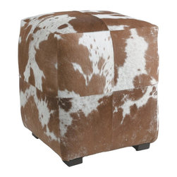 Kathy Kuo Home - Otto Brown White Hair on Hide Modern Rustic Ottoman - There's something so unmistakably modern yet rustic in the use of cowhide upholstery.  This brown and white square ottoman is a perfect example.  It would be great at the ranch, in the lodge or even in the SoHo loft.
