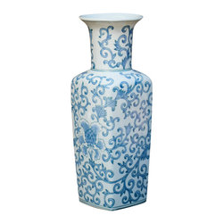 Blue & White Juliet Vase - With an ample opening for a handful of tall blooms, and a beautiful blue & white Chinese motif, this vase has a striking style, even when empty.