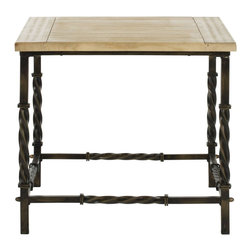 Safavieh - Safavieh Tonya Fir Wood Side Table - Safavieh - End Tables - AMH4122A - The industrial charm of vintage railings is elegantly enhanced alongside the reclaimed look of the Tonya side tables fir Wood top. Crafted to explore the beautiful juxtaposition of these natural and forged elements its a must- have for contemporary rustic-chic interiors.