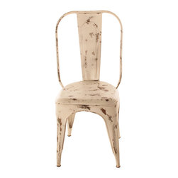 Kathy Kuo Home - French Iron Rustic Distressed White Cafe Chair - You'll make the best distressed list with this chair in your eclectic dining setting. It's crafted of iron and hand-painted with purposeful imperfections, so each seat is completely unique.