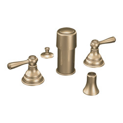"Moen - Moen T5210AZ Antique Bronze Bidet Faucet Trim Two Lever Handle 8""-16"" Center - Moen T5210AZ is part of the Kingsley Bath collection. Moen T5210AZ is a new style bathroom, Bidet faucet trim. Moen T5210AZ has an Antique Bronze finish. Moen T5210AZ two handle widespread Bidet faucet mounts in a 3-hole 8"" - 16"" Center bidet. Moen T5210AZ two handle widespread trim requires Moen's 9200 MPact Bidet Rough-in valve to make this faucet complete. Moen T5210AZ is part of the Kingsley bath collection with its traditional style combining classic antique look, with modern luxury. This collection delivers the best of both worlds. Moen T5210AZ is not recommended for non-rim flush fixtures. Moen T5210AZ two lever handle provides ease of operation. Antique Bronze is an exclusive finish from Moen and provides style and durability. Moen T5210AZ metal lever handle meets all requirements ofADA ICC/ANSI A117.1 and ASME A112.18.1/CSA B125.1, NSF 61/9 and proposition 6"". Water Sense Certified. Lifetime limited Warranty."