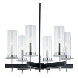 """Sonneman - Sonneman Tuxedo 6-Light Bar Chandelier - The Tuxedo 6-Light Bar Chandelier by Sonneman has been designed by Robert Sonneman. The Tuxedo 6-Light Bar Chandelier is modern lighting inspired by the classic tones and tailoring of men's formalwear. The cylindrical Clear glass shade, chromed shade holder and rectangular Black wall plate evoke the conventional black and white color palette and crisp, formal lines of a tuxedo.  Product description:  The Tuxedo 6-Light Bar Chandelier by Sonneman has been designed by Robert Sonneman. The Tuxedo 6-Light Bar Chandelier is modern lighting inspired by the classic tones and tailoring of men's formalwear. The cylindrical Clear glass shade, chromed shade holder and rectangular Black wall plate evoke the conventional black and white color palette and crisp, formal lines of a tuxedo.  Details:      Manufacturer:     Sonneman         Designer:    Robert Sonneman        Made in:    USA        Dimensions:     Shade:Diameter:3.5"""" (8.89 cm ) X Height:9.5"""" (24.13 cm) X Canopy Diameter:5"""" (12.7 cm)    Overall:Height:14.5"""" (36.83 cm) X Diameter:24.5"""" (62.63 cm)      Light bulb:     6 X E12 candelabra Max 60W Incandescent         Material:     Glass"""