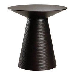 Nuevo Living - Anika Ebony Oak Side Table by Nuevo - HGEM322 - The Ebony American Oak of the Anika Side Table provides a beautiful pedestal end table for any living room.