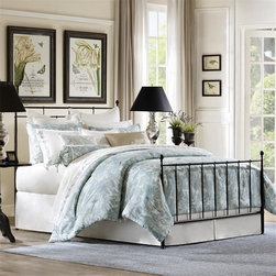 Harbor House - Harbor House Chelsea Paisley Comforter Set - The Chelsea collection features a beautiful paisley print in soft blues and khaki on a soft white sateen fabric. The accessories have a beautiful, tailored satin stitch embroidered border that adds a touch of luxury to this collection. The Chelsea collection is perfect for your master bedroom or guest room. Comforter face:T350 100% cotton sateen fabric;Back: T210 100% cotton sateen fabric;Filling: 100% polyester;Sham face: T350 100% cotton sateen fabric; Back: T210 100% cotton sateen fabric; Bedskirt: 80% polyester 20% cotton fabric for the platform, T210 100% cotton sateen fabric for the skirt with satin stitching.