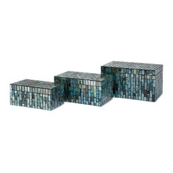 """IMAX CORPORATION - Aramis Mosaic Boxes - Set of 3 - Beautiful glass tiles in undulating shades of blue adorn the surface of the Aramis Mosaic Boxes. This attractive set of three boxes can be displayed together or scattered throughout your home. Set of 3 in various sizes measuring around 10.5""""L x 7.25""""W x 6.25""""H each. Shop home furnishings, decor, and accessories from Posh Urban Furnishings. Beautiful, stylish furniture and decor that will brighten your home instantly. Shop modern, traditional, vintage, and world designs."""