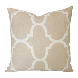 The Pillow Studio - Kravet Riad Tan and Cream Pillow Geometric Pillow Cover - Designer PIllow Cover with Kravet Fabric