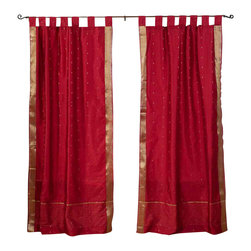 Indian Selections - Pair of Maroon Tab Top Sheer Sari Cafe Curtains, 43 X 24 In. - Size of each curtain: 43 Inches wide X 24 Inches drop .