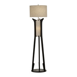 Nova Lighting - Nova Lighting Hashimoto Modern / Contemporary Floor Lamp X-5020102 - A main light and secondary accent light help to create a unique appeal to this stylish Nova Lighting floor lamp, from the Hashimoto Collection. The mid century modern influencing is evident throughout and complimented by a dark toned Pecan finish. The shades are made from oatmeal linen, adding texture and contrast.
