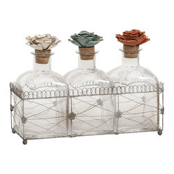 IMAX CORPORATION - Harvey Glass Bottles and Tray - While these glass bottles in a wire tray emit beauty, the fantastic metal rose finials help to create this elegant set of decorative bottles. Find home furnishings, decor, and accessories from Posh Urban Furnishings. Beautiful, stylish furniture and decor that will brighten your home instantly. Shop modern, traditional, vintage, and world designs.