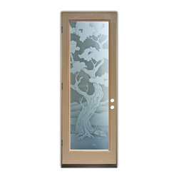 Sans Soucie Art Glass (door frame material Plastpro) - Glass Front Entry Door Sans Soucie Art Glass Bonsai 2D Private - Sans Soucie Art Glass Front Door with Sandblast Etched Glass Design. Get the privacy you need without blocking light, thru beautiful works of etched glass art by Sans Soucie!This glass provides 100% obscurity. Door material will be unfinished, ready for paint or stain.Bronze Sill, Sweep and Hinges. Available in other finishes, sizes, swing directions and door materials.Tempered Safety Glass.Cleaning is the same as regular clear glass. Use glass cleaner and a soft cloth.