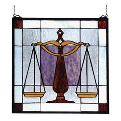 Meyda - 18 Inch H x 18 Inch W Justice For All Windows - Color theme: HA amber Pr zasdy CS burgundy