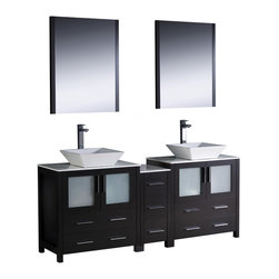 "Fresca - Fresca Torino 72"" Espresso Double Sink Vanity w/ Side Cabinet & Sinks - Dimensions of vanity:  72""W x 18.13""D x 35.63""H. Dimensions of mirror:  25.5""W x 31.5""H x 1.25""D. Materials:  Plywood w/ veneer, ceramic sinks. Single hole vessel faucet mounts. P-traps, faucets, pop-up drains and installation hardware included.  Fresca is pleased to usher in a new age of customization with the introduction of its Torino line.  The frosted glass panels of the doors balance out the sleek and modern lines of Torino, making it fit perfectly in either town or country decor.  Available in the rich finishes of Espresso, Glossy White, Light Oak and Walnut Brown."