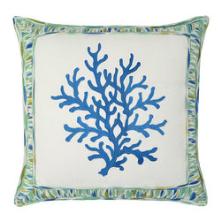 Waverly - Marine Life Pool 18 x 18-Inch Embroidered Decorative Pillow - - Refresh any room in your home with classic decorative accessories by Waverly�. This statement decorative pillow features an ikat collage of seaglass shapes in hues of blue, aqua and green on a white ground. Decorative allover diagonal pleating adds decorator style.  - Pillow measures 18-Inch x 18-Inch.  - Hidden zipper closure.  - Spot clean only. Waverly - 13911018X018POL
