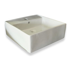 JWH Imports - White Square Ceramic Vessel Sink with Overflow Valve - Get your bath squared away with this contemporary vessel sink. Made of ceramic that's super easy to clean, it has a streamlined silhouette and stark white hue that keeps things modern.