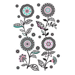 WallPops - Floral Medley Wall Art Decal Kit - Mod flowers with a retro flourish add a pop of high fashion. This wall art kit makes a lively display of flowers and leaves in yourroom. The fresh palette of black graphics with orchid, pink and aqua accents has a clean and pretty appeal. Arrange the design however you would like to best fit your space, there are plenty of extra stickers to add pizzazz.