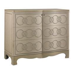 Sherrill Occasional - Sherrill Occasional Linen Door Cabinet 963-151 - A shapely serpentine front is cleverly juxtaposed by a casual, natural-colored linen-clad body with an interlocking ring pattern on the drawer faces executed in nickel nail heads. Top and base painted to match. Touch-latch doors.