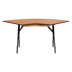 Flash Furniture - 5.5 Ft. x 2.5 Ft. Serpentine Wood Folding Banquet Table - This semi-circular wood folding table allows you to create a serpentine/ half circle or full circle table. The serpentine table allows you to create beautiful arrangements for weddings/ banquets and other events. Create a serpentine table by placing two tables in alternate directions. Create a half circle or full circle by placing two or four tables together from end-to-end. When no longer needed quickly fold the legs underneath tabletop and store away until the next event.