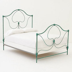 Crawford Queen Bed - I am madly in love with this bed. It's like your granny's house meets a can of crazy, fun spray paint, and they all live happily ever after. This bed makes me think of frothy, white linens and Sunday morning crosswords.