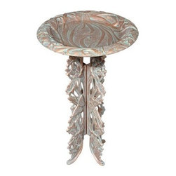 Butterfly Birdbath and Pedestal - The Butterfly Birdbath & Pedestal is ideal to bring your feathered friends to your outdoor space. Made of high quality, recycled aluminum, with weather-resistant finish, it's built to last for many years in extreme outdoor conditions. With ground stakes, its pedestal stands stable on uneven surfaces. Featuring raised butterfly and leaf shapes on both the sides, this made-in-the-USA bird bath is visually appealing. Birds can bathe, drink, or play in the basin, which provides them with firm footing.About WhitehallRenowned as the world's largest manufacturer of weathervanes, Whitehall Products is also recognized for its extensive line of personalized home address plaques, mailboxes, and garden accents such as hose holders, birdbaths, birdfeeders, and sundials. Whitehall's home accent collection includes unique indoor/outdoor clocks, thermometers, and personalized doormats. Behind the legend of Whitehall artistry lies the tale of a unique craft inspired by the majestic shores and woodlands of western Michigan. It was one master wood-carver's desire to reproduce and preserve his hand-carved wood sculpture in metal, depicting the grace and essence of America's natural beauty. Over 65 years later, Whitehall Products still offers you the same mastery in detail with each originally designed, carved, and hand-cast product.