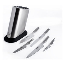 Global 6 pc. Knife Block Set - Update your kitchen with the Global 6 pc. Knife Block Set. Chop and dice with precision and control. Made to the exacting standards of professional chefs, this hand-forged steel cutlery is carefully weighted for balance and comfort. 6 home-chef essentials and a knife block compose this set. All of the blades are crafted of exceptionally hard CROMOVA 18 high-carbon stainless steel, ice-tempered, and hardened to resist corrosion. The stainless steel handles are seamlessly constructed and textured for a safe grip. The stainless steel storage block's angled design helps protect the blades, and its nonslip rubber base anchors the block securely to your counter top. The block has slots for ten knives and a honing steel. The 6 piece set includes a 4-inch paring knife, 5.25-inch chef's knife, 7-inch Asian chef knife, 8.25-inch carving knife, 8.75-inch bread knife, and an 11-slot storage block. Hand wash with care.