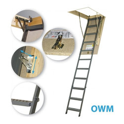 "Fakro - OWM 25x54 Metal Basic Attic Ladder 300lbs 10'1"" - OWM 25x54 Metal Basic Attic Ladder 300lbs 10'1"""