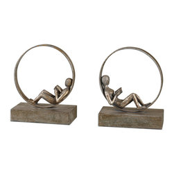 Uttermost - Lounging Reader Antique Bookends Set/2 - These Whimsical Bookends Feature An Antiqued Silver Leaf Finish With A Light Gray Glaze.