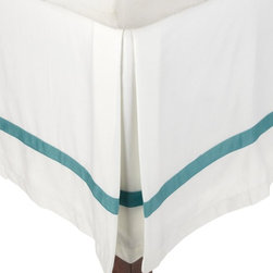 "300 Thread Count Full (Hotel) Bed Skirt Cotton Solid - White/Turquoise - Update the look of your bedroom with a Solid color 300 Thread Count 100% Cotton Bed Skirt. These 300 thread count bed-skirt of premium long-staple cotton are ""sateen"" because they are woven to display a lustrous sheen that resembles satin. Each bedskirt is solid with a color banded border around the edge. Mix and match with our Hotel Collection matching sets (sold separately)."