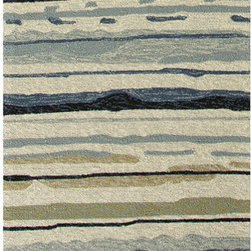 "Jaipurrugs - Ivory/Blue Sketchy Lines Runner Area Rug Border Color Classic Gray 2'6"" x 8' - Indoor-Outdoor Abstract Pattern Polypropylene Ivory/Blue Sketchy Lines Runner Area Rug Border Color Classic Gray 2'6"" x 8'."
