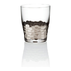 Paillette Platinum Double Old Fashioned Glass - Each Pailette Double Old Fashioned Glass has a sleek, restrained bell at the top which concentrates the aromas of a bitter drink so you can fully enjoy its underlying notes or simply provides a curvaceous silhouette to the landscape of your dining table. Below the curve, though, is the magnificent decor of these glasses: a band of hammered texture finished in frost, platinum, or gold. This item is sold as a single unit.