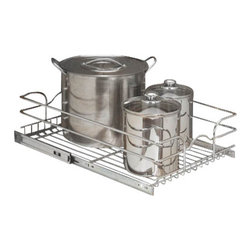 "Rev-A-Shelf - Rev-A-Shelf-CR 21-Inch Single Pullout Wire Basket with 22-Inch Slides, Chrome - This pullout chrome wire basket is essential for any kitchen that needs some help in the organizational department, or is in need of more functional storage. This wire basket provides much needed storage for bulky items such as pots and pans, and easily slides in and out just like a drawer, bringing what you need right to your fingertips. It features 100lb rated full-extension slides, and has a heavy-gauge wire construction that is built to last. It comes fully assembled and is extremely to install. In fact, this cabinet organizer features a bottom mount installation that can be completed with the four included screws. Stop digging in the back corners of your cabinets, and try the affordable Rev-A-Shelf 5WB1-2122-CR Single Pullout Chrome Wire Basket today. Size Specifications: 20-3/8"" W x 22"" D x 7"" H. Please make sure you have a minimum cabinet opening of at least 20-1/2"" W x 22-1/8"" D x 7-1/8"" H to ensure a proper fit."