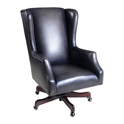 """Hooker Furniture - Morro Bay Station Executive Swivel Tilt Chair - White glove, in-home delivery!  For this item, additional shipping fee will apply.  Developed by one of America's premier manufacturers to offer quality furniture at affordable prices.  Each piece is meticulously hand-crafted using the most exquisite leathers in the world.  The Morro Bay Station Executive Swivel Tilt Chair is crafted using Morro Bay Station leather.  Frame Construction- Kiln dried, laminated, and select hardwoods that are precision machined for fluid and consistent shape.  Inside Dimensions: 19 1/2"""" w x 19"""" d  Seat Height adjusts: 19 1/2"""" h to 21 1/2"""" h  Arm Height adjusts: 26"""" h to 28"""" h  Padding- Pattern cut urethane foam that is padded with felt polyester fibers, assuring the important qualities of comfort, loft, resilience, and good recovery.  Seat- A high resilient, high density foam core wrapped with virgin polyester fibers, assuring luxurious comfort and pleasing crown appearance.  This is then covered with a special ticking for pillow soft comfort.  Seat Back- Filled with precision cut foam and highly resilient polyester fibers or filled with 100% virgin polyester fibers enclosed in a special ticking for pillow soft comfort.  The color of fabric and leather may vary from that shown on screen."""